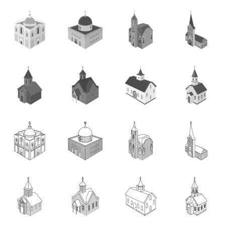 Vector design of temple and historic. Set of temple and faith stock symbol for web.