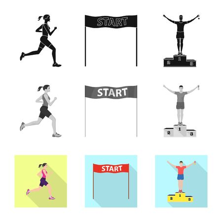 Vector illustration of sport and winner. Collection of sport and fitness vector icon for stock.  イラスト・ベクター素材