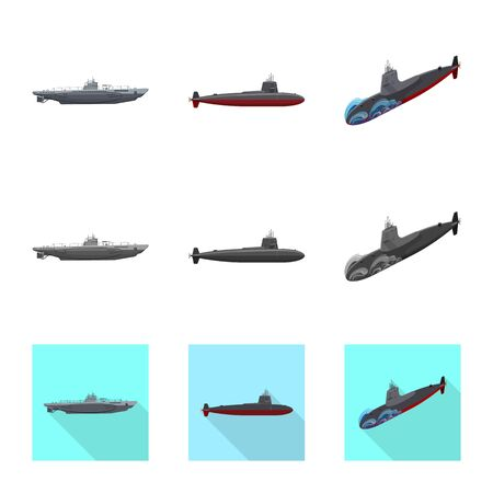 Vector illustration of war and ship sign. Set of war and fleet stock symbol for web.