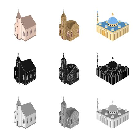 Vector illustration of temple and historic symbol. Set of temple and faith stock vector illustration.