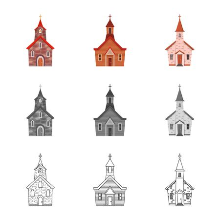 Vector illustration of cult and temple. Collection of cult and parish vector icon for stock. Imagens - 129287317