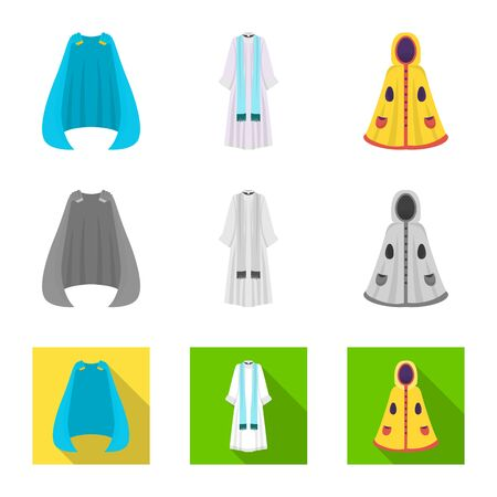 Isolated object of material and clothing symbol. Set of material and garment vector icon for stock.