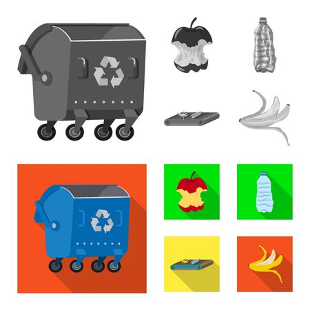 Vector design of refuse and junk sign. Set of refuse and waste stock symbol for web.  イラスト・ベクター素材
