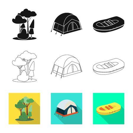 Vector design of trekking and wildlife sign. Set of trekking and leisure stock vector illustration. Illustration