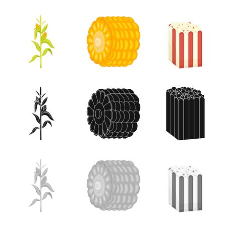 Vector illustration of cornfield and vegetable. Collection of cornfield and vegetarian stock vector illustration. Çizim