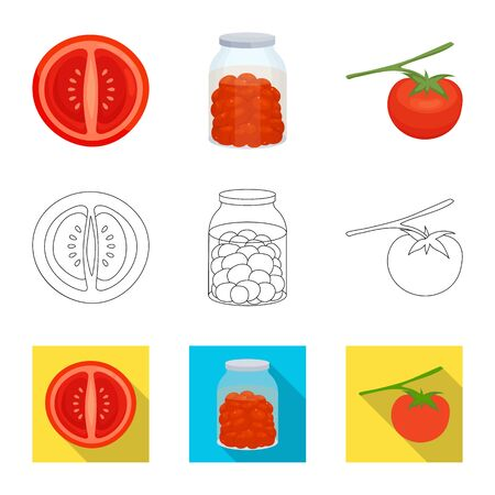 Isolated object of vegetable and delicious . Set of vegetable and natural stock symbol for web. Çizim