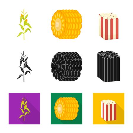 Vector design of cornfield and vegetable symbol. Collection of cornfield and vegetarian stock symbol for web.