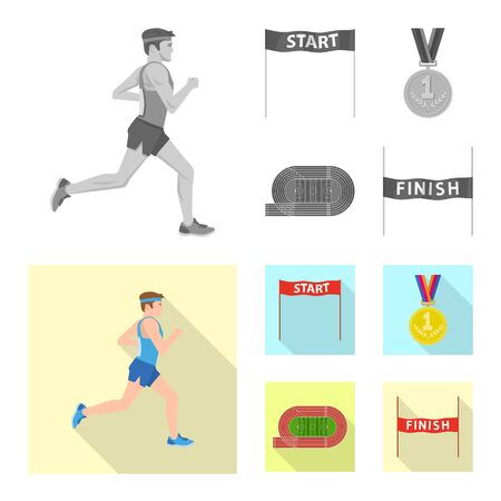 Vector design of sport and winner . Collection of sport and fitness stock symbol for web. Illustration