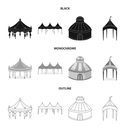 Vector design of roof and folding sign. Set of roof and architecture vector icon for stock.