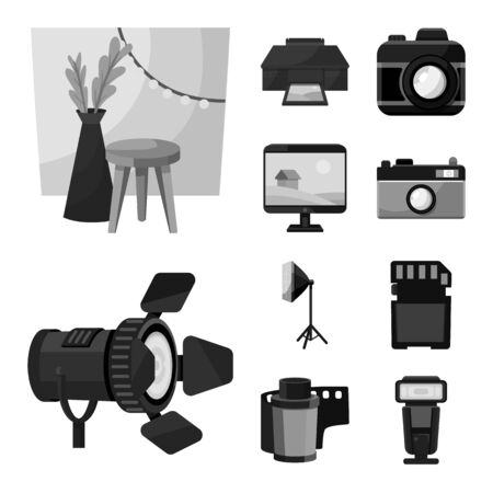 Isolated object of professional and accessories . Collection of professional and work stock symbol for web. Archivio Fotografico - 129684137