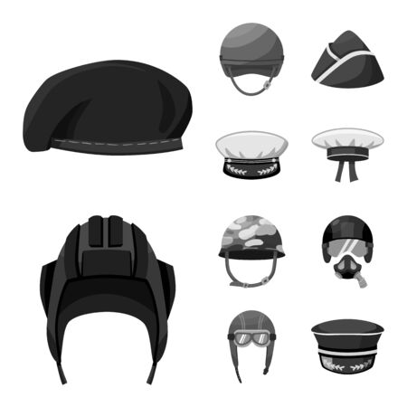 Vector design of headgear and modern logo. Collection of headgear and clothing stock vector illustration.