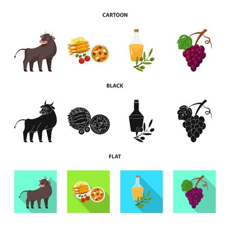 Isolated object of and historic  . Set of and country stock vector illustration.