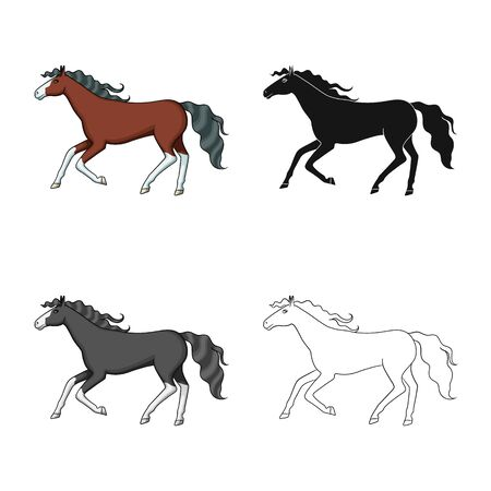 Vector illustration of steed and brown sign. Set of steed and gallop vector icon for stock. Çizim