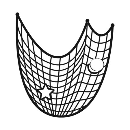 Vector illustration of fishnet and fish . Collection of fishnet and catch stock vector illustration.