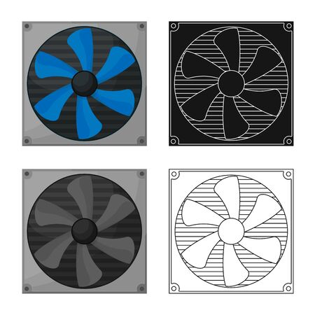 Vector design of computer and cooler sign. Set of computer and fan stock symbol for web. Ilustrace
