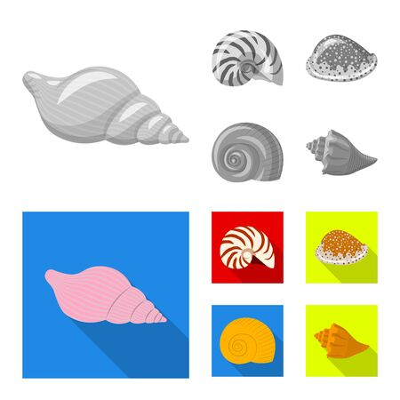 Vector illustration of animal and decoration  . Set of animal and ocean vector icon for stock.
