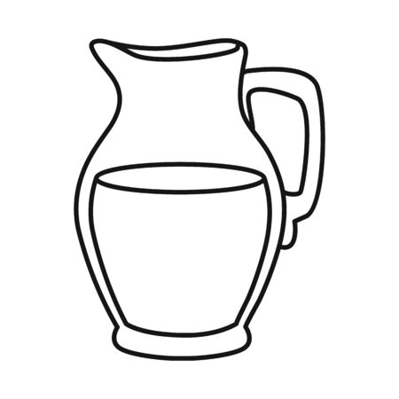 Vector illustration of jug and milk symbol. Set of jug and glass stock symbol for web.