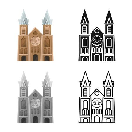 Vector illustration of chapel and vietnamese sign. Collection of chapel and cathedral stock symbol for web.