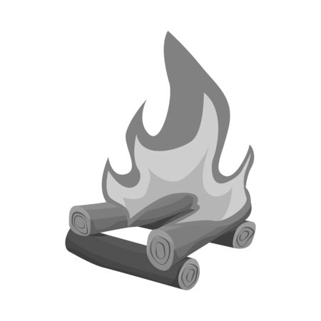 Isolated object of bonfire and burning sign. Set of bonfire and firewood vector icon for stock. Illusztráció
