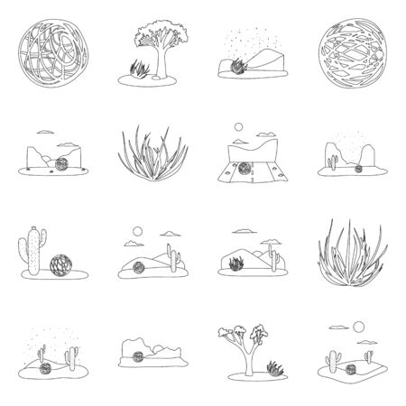 Isolated object of wilderness and texas icon. Set of wilderness and pasture vector icon for stock. Иллюстрация