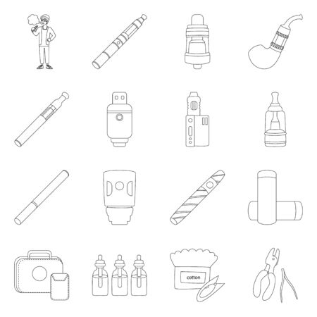 Isolated object of nicotine and filter icon. Collection of nicotine and pipe stock symbol for web. Stock Illustratie