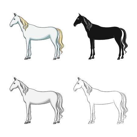 Isolated object of steed and white symbol. Collection of steed and hoofed vector icon for stock. 免版税图像 - 129346040