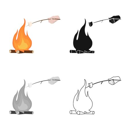 Vector design of campfire and marshmallow symbol. Set of campfire and bonfire vector icon for stock.