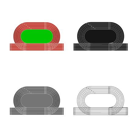 Vector illustration of stadium and athletics  . Set of stadium and race stock vector illustration. 스톡 콘텐츠 - 129346065