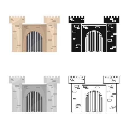 Vector illustration of fortress and castle . Collection of fortress and tower stock vector illustration.