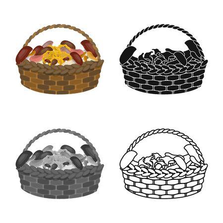 Vector illustration of basket and mushroom sign. Set of basket and picnic stock symbol for web.