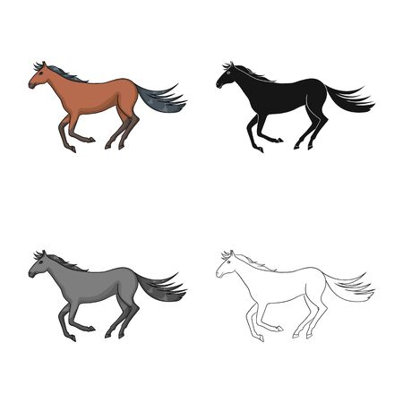 Vector design of horse and hippodrome icon. Set of horse and jumping stock vector illustration. Stock Illustratie
