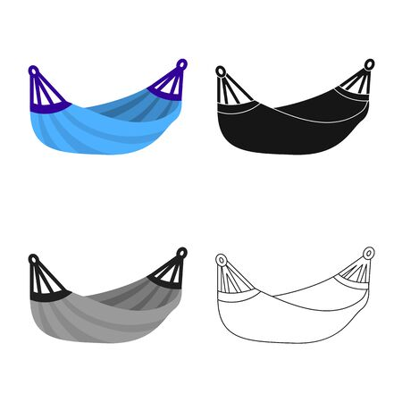 Isolated object of hammock and swing symbol. Set of hammock and outdoor stock vector illustration. Ilustrace