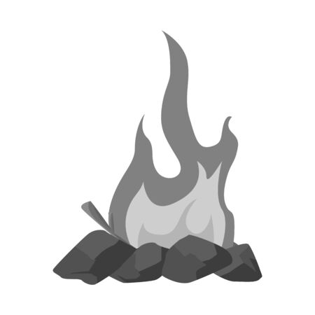 Vector design of campfire and yellow  . Collection of campfire and night vector icon for stock.