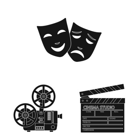 Vector illustration of session and viewing sign. Collection of session and theater stock vector illustration.