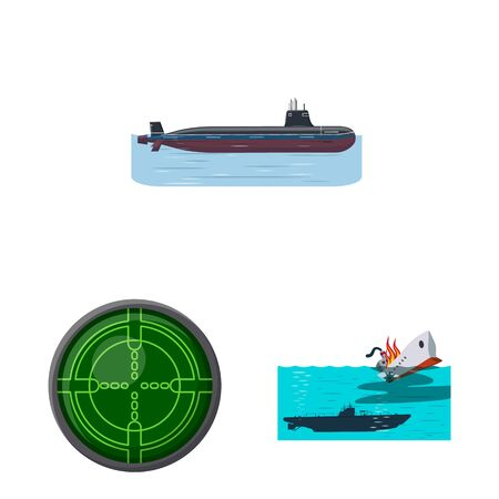 Vector illustration of boat and navy sign. Collection of boat and deep vector icon for stock.