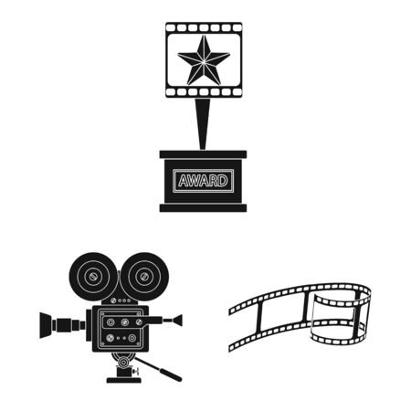 Vector illustration of session and viewing symbol. Collection of session and theater stock symbol for web. Çizim