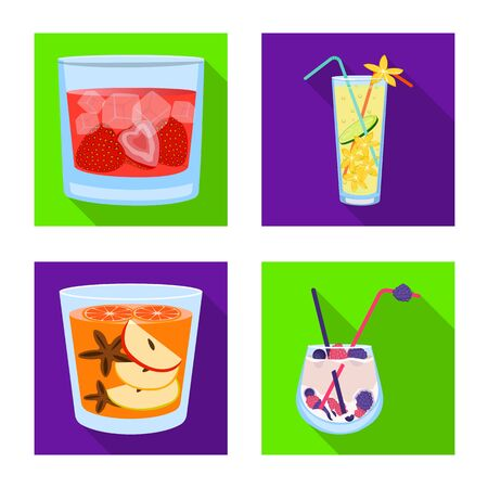 Vector design of liquor and restaurant symbol. Collection of liquor and ingredient vector icon for stock.