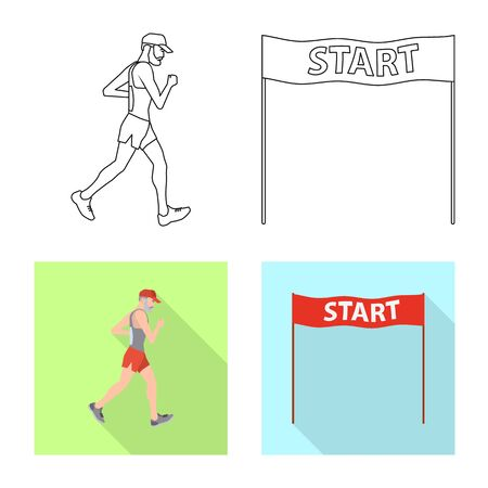 Vector illustration of sport and winner icon. Set of sport and fitness vector icon for stock. Stock Illustratie