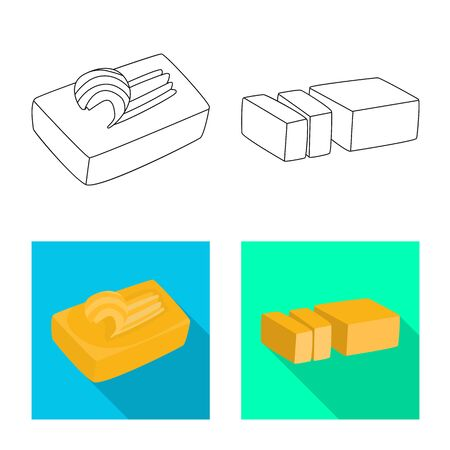 Isolated object of creamy and product icon. Set of creamy and farm stock vector illustration.