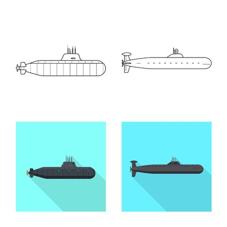Isolated object of war and ship . Collection of war and fleet stock vector illustration. Ilustracja