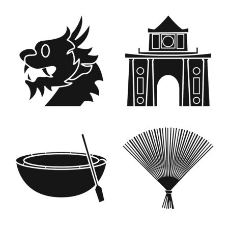 Isolated object of travel and country . Collection of travel and landmark vector icon for stock.  イラスト・ベクター素材