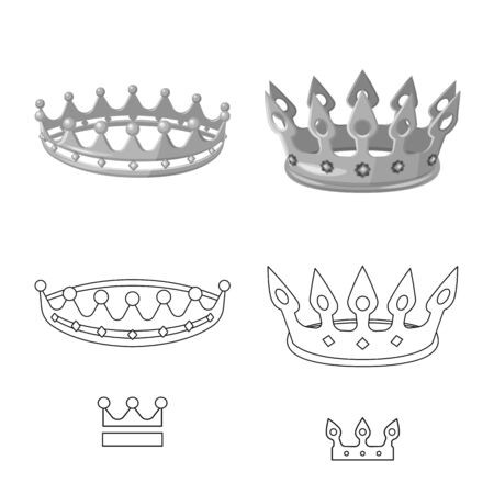 Isolated object of medieval and nobility logo. Set of medieval and monarchy stock vector illustration. Ilustração