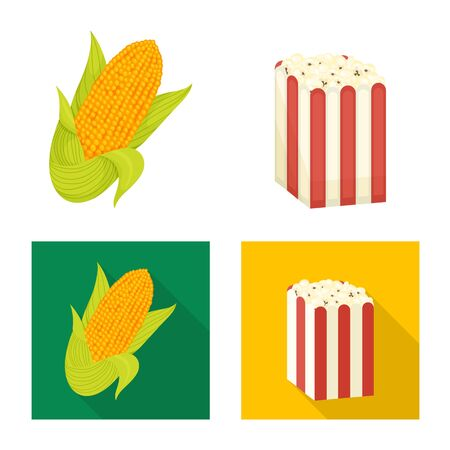Isolated object of cornfield and vegetable symbol. Collection of cornfield and vegetarian stock symbol for web.