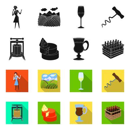 Vector illustration of farm and vineyard symbol. Collection of farm and product stock vector illustration.