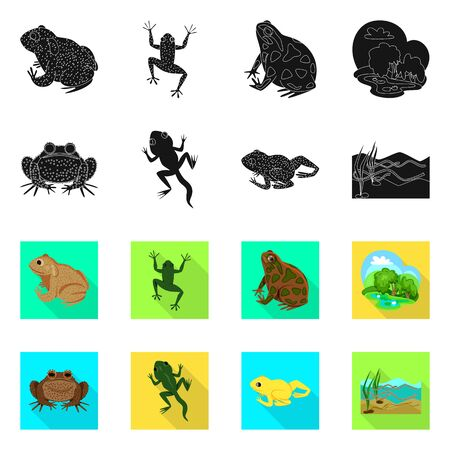 Isolated object of wildlife and bog  . Set of wildlife and reptile stock symbol for web.