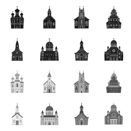 Isolated object of cult and temple  . Set of cult and parish stock symbol for web. Иллюстрация