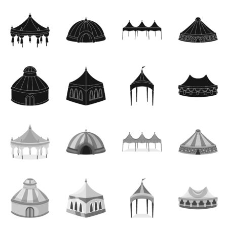 Vector design of roof and folding  . Set of roof and architecture stock symbol for web.  イラスト・ベクター素材