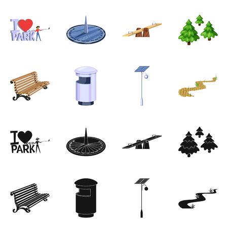 Vector illustration of urban and street . Set of urban and relaxation stock symbol for web.