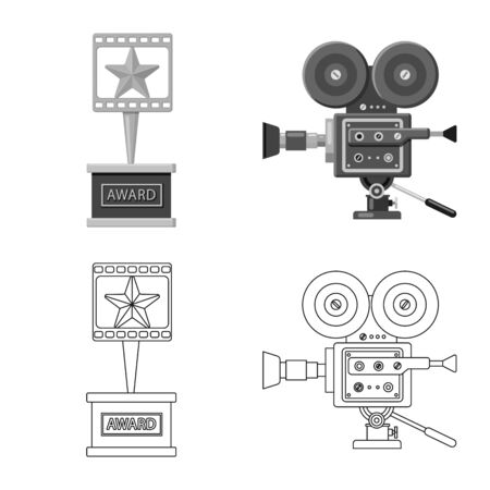 Vector illustration of television and filming . Set of television and viewing stock symbol for web.