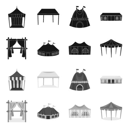 Vector illustration of roof and folding sign. Collection of roof and architecture stock symbol for web.